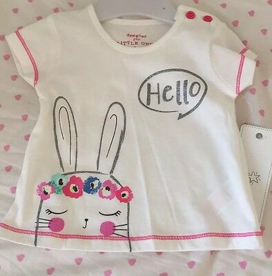 BRAND NEW WITH TAG Girl's White Tshirt Top Rabbit Design Age 0-3 Months New Baby