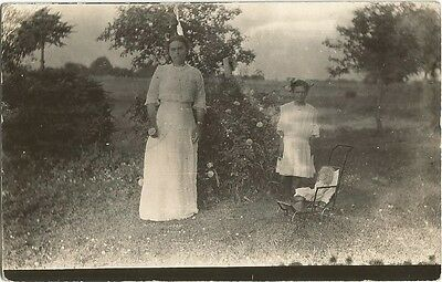 Bourbon, IN Indiana 1913 RPPC Postcard, Woman and Girl with Doll