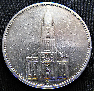 1934D POTSDAM CHURCH GERMAN NAZI SWASTIKA 90% SILVER GERMANY 3rd REICH 5 MARK WW