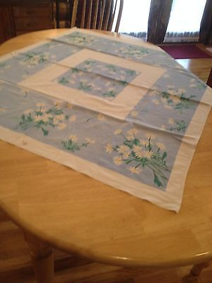 "Vintage Print Printed Tablecloth 50"" x 44"" Blue White Daisies Daisy Flower Linen"