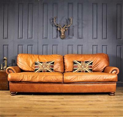 Leather 3 Seater Sofa chesterfield tan victorian cigar club Suite Chair gold 4