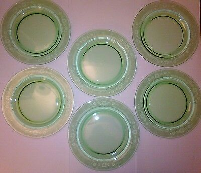 6 Green Etched Vesper Luncheon Plates Fostoria Elegant Depression Glass 8 1/2""