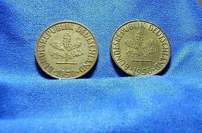 Germany 1950 D & F 10 Pfenning Coins - Lot of 2 coins