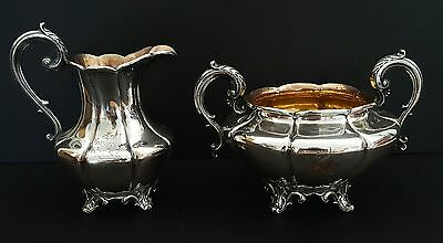 Antique Goth Silver Plate Cream Sugar Hand Engraved Dragons Harry Potter