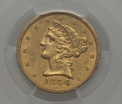 1844 $5 Gold Early Liberty PCGS AU55 CAC Certified ~WOW~