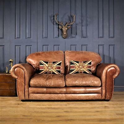 Leather 2 Seater Sofa Victorian Cigar club Suite tan Chair Vintage Chesterfield