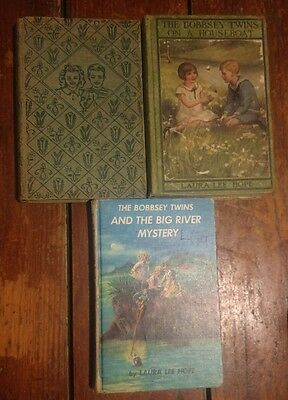 lot of 3  bobbsey twins at the seashore 1950 on a houseboat 1915 hardcover