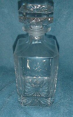 Clear Cut Glass / Crystal (?)  Whiskey Decanter Square with Flower Pattern