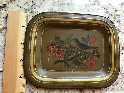 Petite Vintage Hand Painted Antique Tole Tray Bird Branch Leaves Red Berries