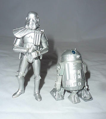 "2x Rare Collectible STAR WARS Silver SAGA 3.75"" Limited Edition Action Figures"