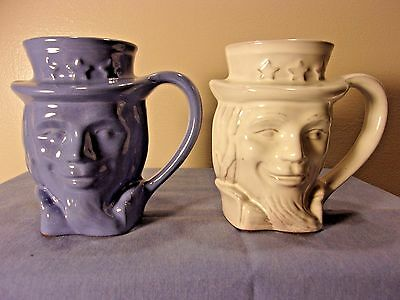Vintage Frankoma  Pottery Uncle Sam Mugs 1976 Bi-Cent., 1-blue, 1-white #600