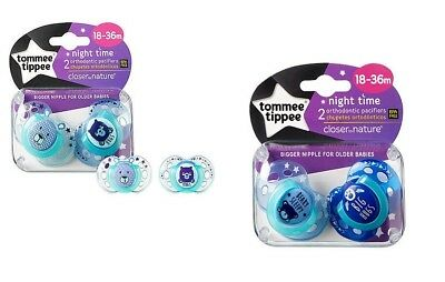 """TOMMEE TIPPEE """"Night Time"""" 2x Dummy Pacifier Soother Orthodontic Silicone 18-36m"""