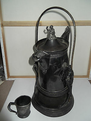 Antique Large Victorian Silver Plated Cherub Tilt Water Pitcher & Cup