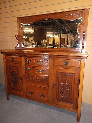 An Edwardian Art Nouveau Solid Walnut Carved Mirror Back Bow Fronted Sideboard