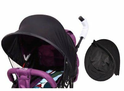 Easy Fit Universal Stroller Canopy Extender Large and Compact Sun Shade in Black