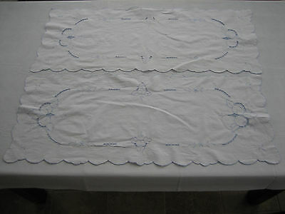 2 Matching Vintage Table Runner / Dresser Scarf - Pale Blue Fruit Embroidery