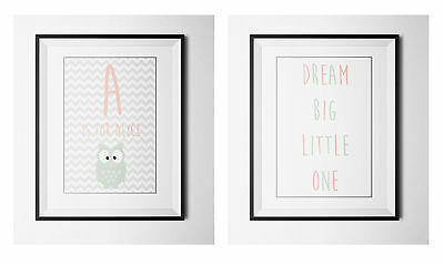 Personalised Children's initial A4 Print- Nursery Wall art-SET OF 2