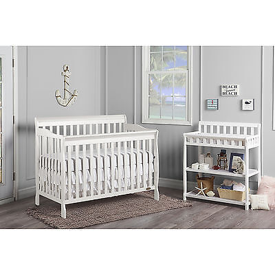 5 in 1 Convertible Crib Baby Toddler Daybed Full Size Bed NEW White Wood Color