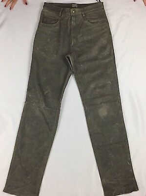Vintage Distressed Men's Leather Motorcycle Pants Grey Lined Heavy 32 x 36