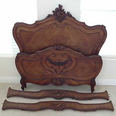 Antique Louis XV French Walnut Bed Frame Full Size 19th Century Hand Carved