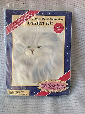Clarke's Punch Embroidery Kit Persian Cat Silver Shaded Green Eyes SK102