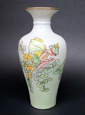 Antique Wehinger Vase Hand Painted Pixie Fairy Signed and Dated 1951
