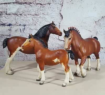 Breyer Clydesdale 1982 Holiday JC Penney Family Set Bay Mare Foal Stallion