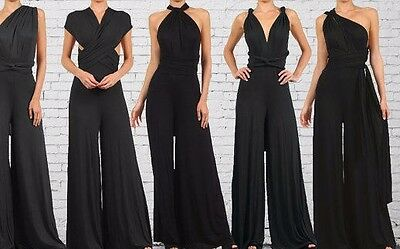 Womens Infinity Convertible Jumpsuit Multiway Wrap Solid Romper