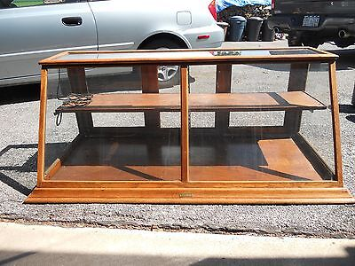 Antique Store Oak Glass Showcase Display Case 4 ft Long - Sun Manufacturing Co.