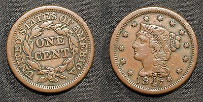 1847 U.S. Large Cent - Solid VF/XF    stk#WB76