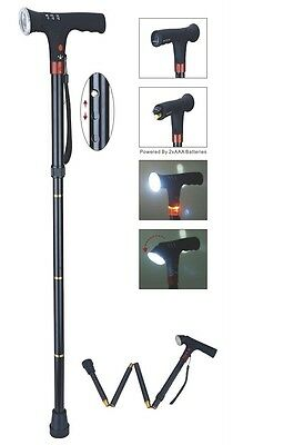 Foldable Walking Stick (Cane) with LED light and alarm