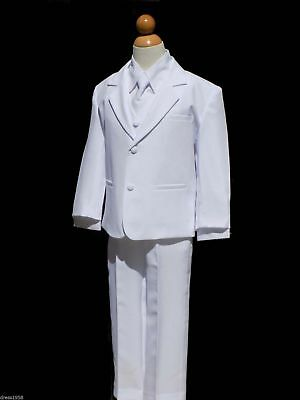 Boys Baptism, Ring Bearer, Recital Tuxedo Suit, White, Size Small  to 14
