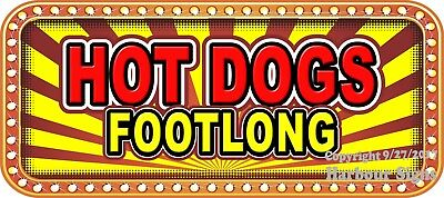 """Footlong Hot Dogs 18"""" Decal Concession Lettering Food Truck Vinyl Stickers"""