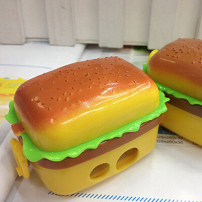 Cool Stationery Hamburger Pencil Sharpener with Two Rubbers Eraser Student Kids