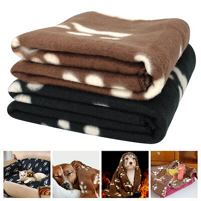 Paw Print Pet Cat Dog Velvet Keep Warmer Blanket Beds Mat For Small to Large Pet