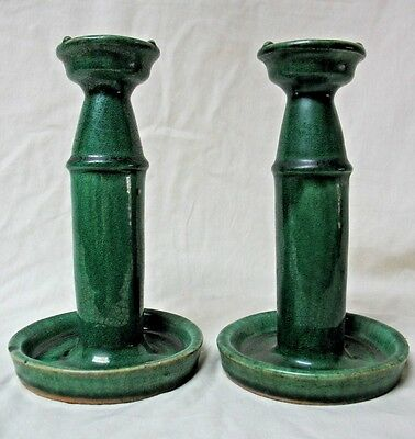 Antique Pair Of Green Glaze Candlesticks