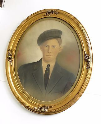 """Antique Oval Wood Gesso Picture Frame 19 7/8"""" x 15 7/8"""" Tinted Photo Man in Hat"""
