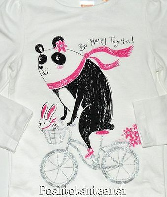 Gymboree Outlet 3t Top Long Sleeve Panda Bunny Glitter Bicycle Top Girls NEW kg1