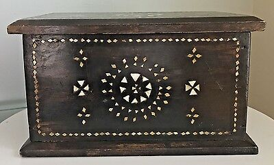 Old Syrian Mother of Pearl Inlaid Wood Jewelry Box Vintage Antique