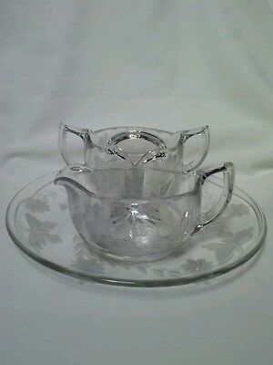 Stunning Creamer/pitcher-Sugar Bowl-Plate Etched Glass Butterflies Flowers Vntg