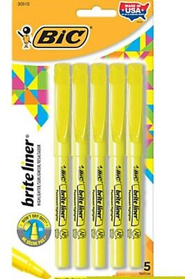 BIC® Brite Liner® Highlighters, Chisel Point, Yellow, 5-Pack  Marker Set School
