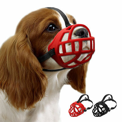 Rubber Basket Dog Muzzle for Biting Barking Adjustable Padded Cage Muzzle