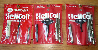 Helicoil Thread Repair Kit Lot of 3   1/4-20   5/16-18   8-32