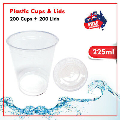 Drinking Plastic Clear Cups With Flat Lids 200pc 225ml Water Cup Bulk
