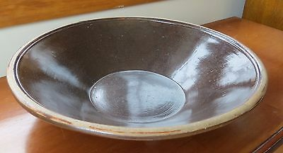 "Almost 17"" Diameter Albany Slip Glaze Stoneware Milk Pan/Bowl c.1880-1900 era!"