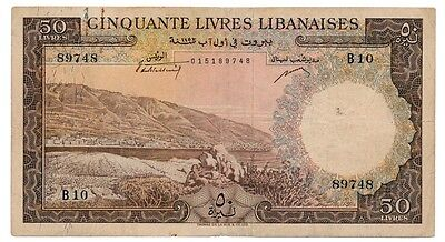 LEBANON banknote 50 LIVRES 1952. first year VF
