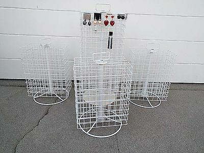 Set of Four (4) White Spinning  Wire Counter Display Racks - Bonus!