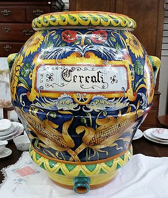 """Majolica Huge Cereal Container Yellow Sunflowers Hand Painted H 28"""" Italian"""