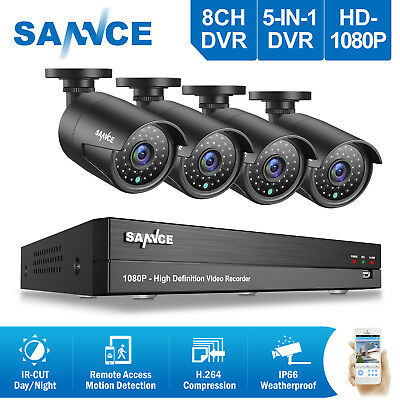 SANNCE 4x 1080P Bullet AHD Cameras 8CH 2MP DVR Home Security System Remote H.264