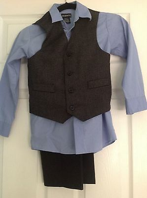 Boys 3 Piece Suit Set, Vest and Pants w/ Colored Blue Shirt 7